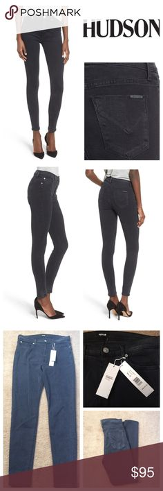 """Hudson Barbara High Waist Skinny Jeans The triple-threat combination of a high rise, black wash and ultra-skinny fit creates an incredibly flattering silhouette in wear-with-everything jeans crafted from supersoft stretch denim. Approx 30-1/2"""" inseam;  15-1/4"""" waist;   11"""" front rise Zip fly with button closure Five-pocket style  64% Tencel® lyocell, 30% cotton, 4% elastomultiester (elasterell-p), 2% elastane Machine wash cold, dry flat Imported Hudson Jeans Jeans"""