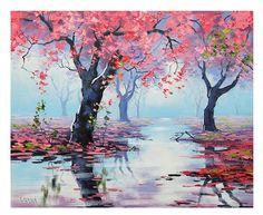 Rosa arte decoración árbol murales rosa arboles por GerckenGallery