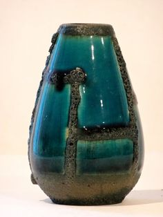 Ruscha Mid Century Turquoise & Black Fat Lava Geometric West German Bud Vase