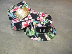 ROJAS black floral hawaiian metal buckethat by rojasclothing, YOU CAN CUSTOM YOUR OWN WORDS $45.00