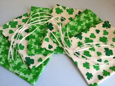 St Patrick Gift Wrap Candy Bags 6 Ribbon Tied by HugsandHolidays - SOLD