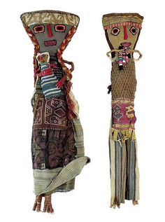 Vtg ANTIQUE PERUVIAN Chancay Burial DOLL Peru 13  Tall Folk Art Textiles                                                                                                                                                     More