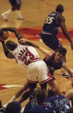 Michael Jordan fouled Hard by Stockton