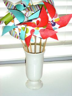 Pinwheels Large Twirlable RAINBOW PARTY PENNANTS by pickledparlor, $22.00