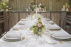 soft peach white and gold table decor
