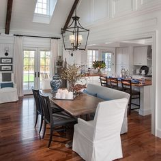 Just off the kitchen, the dining room from HGTV Dream Home 2015 is a bright, open area with stylish mixed seating and classic cottage charm. Click the link in our profile to see the rest of this space. #HGTVDreamHome #Padgram