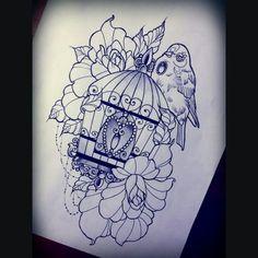 mary-madeleine: Late night drawing - available @blackstarstudio #tattoodesigh #tattoo #tatuazwarszawa #birdcage #neotrad #rose #bird #pretty #cute #tattedgirls