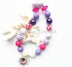 Wholesale Doc Mcstuffin charm pendant children stripe beads necklace 2pcs/lot for baby girls party favors!! US $10.88