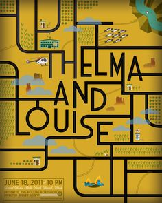 Thelma et Louise Thelma Y Louise, Minimal Movie Posters, Types Of Lettering, Hand Lettering, Alternative Movie Posters, Minimalist Poster, Type Design, Graphic Design Illustration, Fun Illustration
