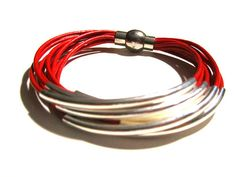 Red Leather Cuff #Bracelet with Silver or Gold by wrapsbyrenzel