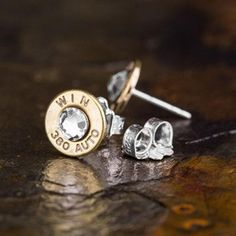 Winchester® 380 Auto Bullet Head Stud Earrings with clear Swarovski Crystals.