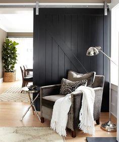 images of modern sliding barn doors | ... barn door, black door, living room, family room, sliding barn door