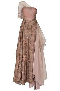 Featuring a brown layered gown in chanderi, silk and organza base. It has aari work embroidery. Indian Gowns Dresses, Indian Fashion Dresses, Indian Designer Outfits, Designer Party Wear Dresses, Designer Gowns, Stylish Dress Designs, Stylish Dresses, Heavy Dresses, Indian Bridal Outfits