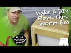 Make a flow-through worm composting bin using a kitchen trashcan, some scrap wood and string trimmer wire. A flow-through worm composter makes harv.