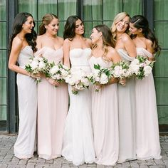 Mix of Blush and Champagne chiffon bridesmaid dresses from Amsale