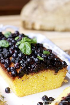 Lemon Polenta Cake with Wild Blueberry Sauce