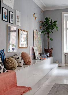 Incredibly charming family apartment in Gothenburg, Sweden - Paul & Paula White Wooden Floor, Elephant Wallpaper, Gothenburg Sweden, Family Apartment, Interior Architecture, Interior Design, Big Windows, Modern Kitchen Design, Colour Schemes