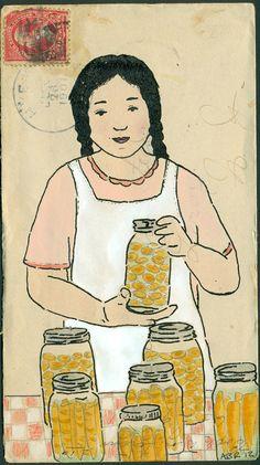 2012 Amy Rice putting up carrots Envelope Lettering, Envelope Art, Food Illustrations, Illustration Art, Fun Mail, Going Postal, Mail Art, Medium Art, Altered Art