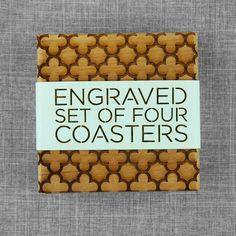 Laser Engraved Wood Coasters - Quatrefoil Style  Comes in laser cut packaging--makes a great gift!
