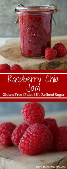 Chia seeds are nutrient packed little guys and help make an awesome jam such as this Raspberry Chia Jam of mine. Some might even say it's the jam! hehe This jam makes a really great condiment to your breakfast or snacks (GF- toast Good Healthy Recipes, Healthy Foods To Eat, Healthy Treats, Healthy Cafe, Jam Recipes, Canning Recipes, The Jam, Paleo Sauces, Chia Recipe