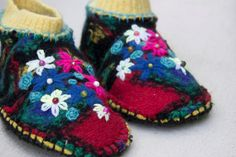 Womens wool upcycled slippers bursting with color by twotiming, $55.00