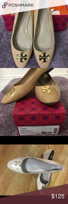 Tory Burch beige/nude Raleigh Ballet flats 9.5 Size 9.5 Nude/beige patent leather ballet flats gently worn gold Tory Burch symbol on top Tory Burch Shoes Flats & Loafers