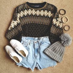 Sweater and hat with shorts? Would probably have to have leggings or tights or something underneath.