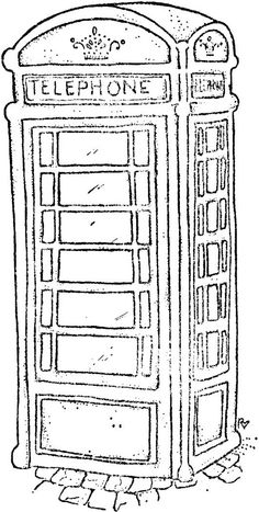 Little London 2013 - Vintage Phone Booth London Telephone Booth, London Phone Booth, Vintage Telephone, Colouring Pages, Coloring Sheets, Coloring Book, London Drawing, Vintage Phones, Lawn Fawn Stamps