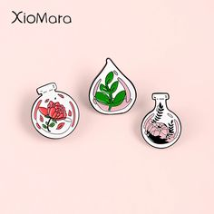 Plants In Bottles, Glass Bottles, Rose Leaves, Cartoon Crossovers, 20th Birthday, Cute Pins, Lapel Pins, Brooch Pin, Backpacks