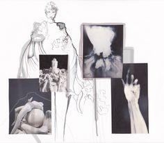 Fashion Portfolio - fashion design board; fashion illustration; fashion sketchbook layout // The White Series, Ewgeniya Lyras