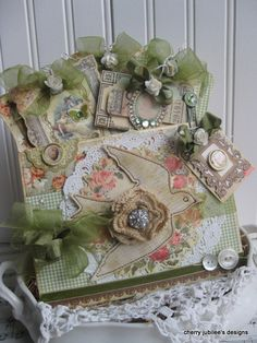 shabby chic  a VICTORIAN SPRING stitched pocket full of handmade tags treat bag gift decoration
