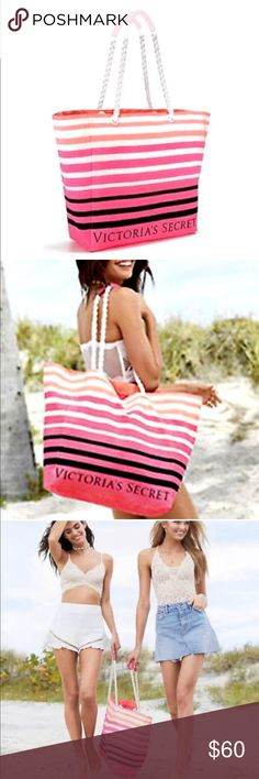 SALE! 💗 Victoria's Secret 🏖 Tote / Beach Bag Victoria's Secret 💖 TOTE BAG  *BRAND NEW WITH TAG* MAKE AN OFFER! 	•	Style Number: 11109401 	•	Pink striped design with VS logo 	•	Two rope straps with faux leather handles 	•	The eyelets are embossed with logos too 	•	Open top, large size - 390mm x 370mm 	•	Versatile - great for gym💪 beach 🏝 or     travels ✈️ Victoria's Secret Bags