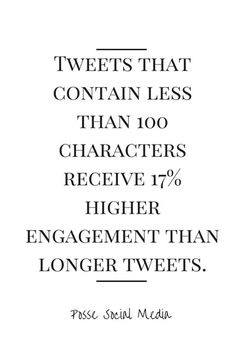Tweets that contain less than 100 characters receive 17% higher engagement than longer tweets. #SEOPluz