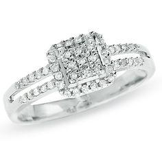 *** 1/4 CT. T.W. Diamond Split Shank Ring in 10K White Gold $249.99 (On Sale from $329.00) ***