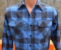 vintage 70s blue BUFFALO plaid flannel shirt hunting by skippyhaha, $30.00
