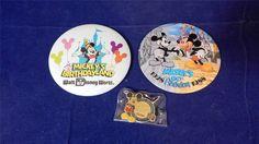 3 VTG 1988 Original Walt Disney World Mickey Mouse 60th Birthday Pin Buttons EUC