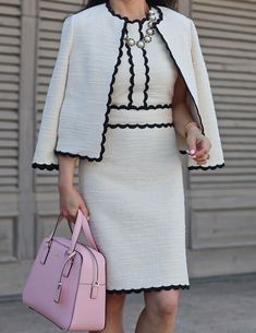 Scallop Tweed Dress, Polka Dots and Pop of Pink – Stylish Petite kate spade new york cameron street little babe, kate spade new york licorice polka dot pumps, kate spade new york scallop tweed dress, taking shapes collar necklace Kate Mazur Business Mode, Business Attire, Classy Dress, Classy Outfits, Dress Suits, I Dress, Stylish Petite, Look Fashion, Womens Fashion