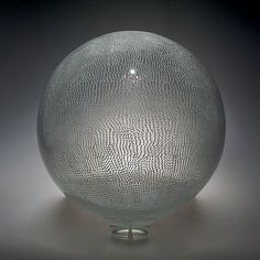 White Thread Sphere by David Patchen: Art Glass Sculpture - STUDIO SALE available at www.artfulhome.com
