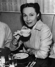 Mexican Film Star Delores Del Rio Sipping Tea