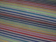 Stoff Streifen - Jersey Regenbogen Streifen lime-gelb-blau auf grau - ein Designerstück von Polly-Pocket77 bei DaWanda