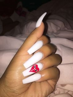 """White nails are fundamental however with the CommeDesGarçons brand 😍↬ examine my """"nails"""" desk for extra 🤪⬇️ White Acrylic Nails, Best Acrylic Nails, Summer Acrylic Nails, Acrylic Nail Designs, Summer Nails, Perfect Nails, Gorgeous Nails, Pretty Nails, Swag Nails"""