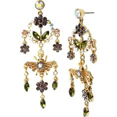 Betsey Johnson Queen Bee Chandelier Earrings (210 BRL) ❤ liked on Polyvore featuring jewelry, earrings, multi, bumble bee earrings, antique gold earrings, gold tone jewelry, honey bee earrings and bumble bee jewelry