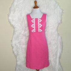 """Lilly Pulitzer Adelson Shift Jacquard Dress D2-Gorgeous delicate pink with white lace trim, fitted straight with empire waist, square neckline, invisible back zipper. Cotton jacquard, lined. Bust: 16.5"""", Lenght:34"""". (Worn once & still excellent condition) Lilly Pulitzer Dresses Mini"""