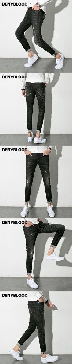 Denyblood Jeans 2017 Spring Autum Mens Slim Jeans Stretch Denim Distressed Jeans Ripped Vintage Washed Destroy Casual Pants 1001