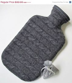 Cashmere Hot Water Bottle Cover with Lavender Sachet