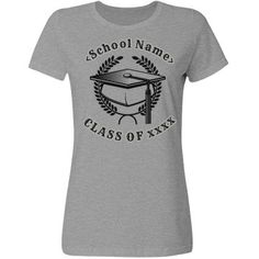 Easily customize shirt type and color, add your school logo or mascot. Change text, fonts, images and imprint colors. Add athletes name to back. Note: white does not print on budget shirts. Graduation Logo, School Colors, I School, Text Color, Tees, Mens Tops, T Shirt, Business, Awesome