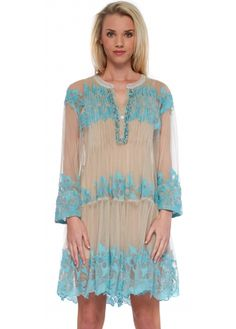 Antica Sartoria Nude Sheer Mesh Beach Dress With Turquoise Floral Embroidery