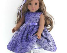 Handmade Doll Clothes for American Girl - Dress, Pantalettes, Headband - Purple Satin, Lace - Shoes, Socks Option