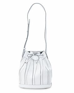 MAXI BUCKET BAG - White Perforated leather