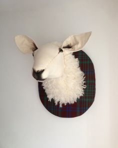Sheep fibre sculpture, vegetarian taxidermy. Tartan lamb trophy, farmer's friend. Merino wool wall hanging